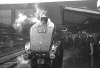 One of the many <I>Waverley</I> specials that operated during the run-up to final closure in the sixties stands at Carlisle behind A4 60019 <I>Bittern</I> in November 1966.<br><br>[K A Gray&nbsp;12/11/1966]