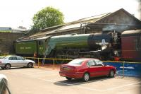 Scene at the EWS depot at St Phillips Marsh, Bristol, on the morning of 10 July 2009 during the <I>lighting up</I> of A1 Pacific no 60163 <I>Tornado</I>.<br><br>[Peter Todd&nbsp;10/07/2009]