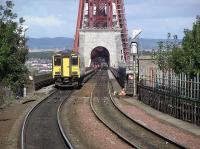 Northbound <i>Sprinter</i> begins the Forth Bridge crossing in 2004<br><br>[James Young&nbsp;15/09/2004]