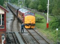 <I>For God's sake Jim don't make an ersk of this.... </I> numerous cameras get ready to 'capture the moment' as 37418 approaches the level crossing at Ramsbottom station on 5 July 2009, the occasion of the East Lancs diesel gala. <br> <br><br>[Colin Alexander&nbsp;05/07/2009]