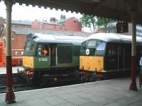BR Type 2s D7629 and D5054 stand at Bury, Bolton Street, on 5 July during the East Lancs Railway's diesel gala weekend. <br><br>[Colin Alexander&nbsp;05/07/2009]