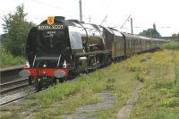 The <I>Cumbrian Mountain Express</I> railtour from Worcester to Carlisle runs through Leyland on the Down Fast line on 18 July 2009. LMS pacific no 6233 <I>Duchess of Sutherland</I> is in charge, having taken over the train at Crewe.<br><br>[John McIntyre&nbsp;18/07/2009]