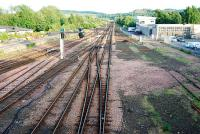 View looking south from St Leonards Bridge. On my every visit there seems to be slightly less track here. The powerbox is built hard by the site of the former NB locomotive shed (now the car park seen to the right).<br><br>[Ewan Crawford&nbsp;12/07/2009]