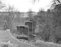 Remains of the viaduct over the North Calder Water on the former Moffat Mills branch. The branch had remained open until the mid 1980s to carry grain traffic to Inverhouse distillery.<br><br>[Bill Roberton&nbsp;//]