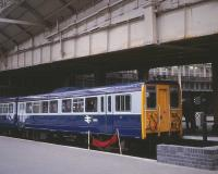 The prototype railbus 140001 undergoing trials on the Scottish Region, seen at Edinburgh Waverley on 31 August 1981.<br><br>[Peter Todd&nbsp;31/08/1981]