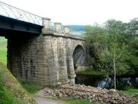 The substantial bridge that brought the railway across the Lyne Water into Lyne Station. Looking east over the river towards Peebles in September 2002, with the old station (now a secluded private residence) off picture to the left.<br><br>[John Furnevel&nbsp;19/09/2002]