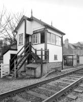 The signal box at Clachnaharry in March 1988. View west towards Beauly.<br><br>[Bill Roberton&nbsp;28/03/1988]