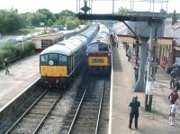 D5054 alongside D1062 <i>Western Courier</i> at Ramsbottom on 5 July during the East Lancs diesel gala weekend.<br> <br><br>[Colin Alexander&nbsp;05/07/2009]