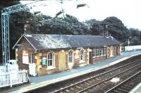The station building on the Glasgow-bound platform at Cardross seen in August 1985.<br><br>[David Panton&nbsp;/08/1985]