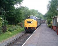 40145 arrives with a train on the East Lancashire Railway at Summerseat on 5 July 2009.<br><br>[Colin Alexander&nbsp;05/07/2009]