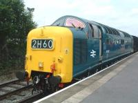 Deltic 55022 <I>The Kings Own Yorkshire Light Infantry</I> stands at Heywood on 5 July 2009 during the East Lancs diesel gala weekend.<br> <br><br>[Colin Alexander&nbsp;05/07/2009]
