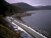 View west over the new alignment of the railway to the east of Stromeferry station in February 2002, just prior to tracklaying in the aftermath of the mudslide. The original course was very slightly closer to the hillside.<br><br>[Ewan Crawford&nbsp;10/02/2002]