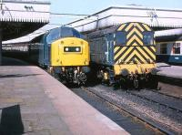 40173 and 08855 at the south end of Aberdeen Station on 5 May 1980<br> <br><br>[Peter Todd&nbsp;05/05/1980]