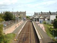 Looking east over Broughty Ferry station from Fort Street bridge on 23 May 2007 with the outline of the former bay platform still visible on the right. [See image 5940]<br><br>[David Panton&nbsp;23/05/2007]
