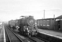 Ivatt class 4 2-6-0 no 43027 draws into Longtown with the Langholm - Carlisle branch train around 1962.<br><br>[K A Gray&nbsp;//1962]