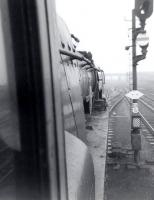 Fireman's view from the cab of Merchant Navy Pacific no 35026 <I>Lamport and Holt Line</I> on a Williams Deacon's Bank Club special at Doncaster Station in 1966.<br><br>[David Pesterfield&nbsp;//1966]
