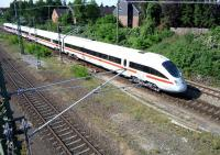 A Hamburg-Lubeck ICE approaching the bridge under Moislinger Ailee near Lubeck station on 20 July 2009. Two days later another ICE�train suffered major damage when children placed concrete blocks and iron fencing on the track.<br> <br><br>[John Steven&nbsp;20/07/2009]