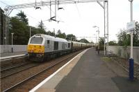 On 25 July 2009, the <I>Northern Belle</I> luxury tour train ran from London to Helensburgh Upper where the passengers detrained for a two night stop on the banks of Loch Lomond. The ecs is seen passing through Cardross later on Saturday evening on its way to Edinburgh to stable overnight. <br><br>[John McIntyre&nbsp;25/07/2009]