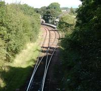 Looking towards Busby station on 8 September 2007. In the foreground the line becomes single to East Kilbride.<br><br>[David Panton&nbsp;08/09/2007]