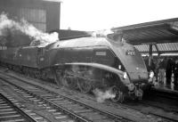 A4 Pacific no 60019 <I>Bittern</I> stands at Carlisle on 12 November 1966 with <I>The Waverley</I>,  a special organised by the RCTS. The train, which started from York, had arrived here via Newcastle and Hexham and, after completing its journey over the Waverley route, returned home via the ECML.  <br> <br><br>[Robin Barbour Collection (Courtesy Bruce McCartney)&nbsp;12/11/1966]