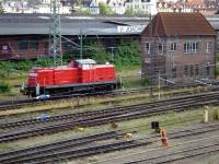 DB Shunter 295 0 90-5 passing the disused Wtm signal box in sidings near Lubeck in July 2009.<br> <br><br>[John Steven&nbsp;/07/2009]