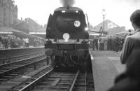 Bulleid <I>West Country</I> light Pacific no 34002 <I>Salisbury</I> stands at Nottingham Victoria on 13 August 1966. The locomotive is about to head south for Marylebone via the GC London Extension with the last leg of the RCTS <I>Great Central Railtour</I>.<br> <br><br>[K A Gray&nbsp;13/08/1966]