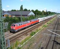 A Hamburg bound express leaving Lubeck on 21 July hauled by DB 218 213-7.<br><br>[John Steven&nbsp;21/07/2009]