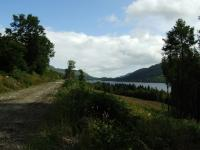 This view is about three miles from St Fillans showing the trackbed on the left, Loch Earn on the right and St Fillans in the centre distance.<br><br>[John Gray&nbsp;30/07/2009]