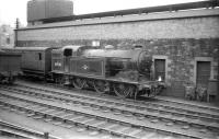 Gresley N2 0-6-2T no 69510 on shed at Hawick in 1958.<br> <br><br>[Robin Barbour Collection (Courtesy Bruce McCartney)&nbsp;24/05/1958]