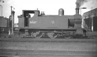 Aspinall ex-L&Y 0-6-0T no 51537 stands on Aintree shed in September 1958. One of several <I>dock tanks</I> based here, these locomotive would have spent most of their lives shunting Liverpool Docks. [Editor's note: What is often referred to as a spark-arresting device is, according to Paul Ford, a 'blast deflector' fitted to locomotives shunting the dock estate to protect the deck of the Liverpool Overhead Railway]. <br><br>[Robin Barbour Collection (Courtesy Bruce McCartney)&nbsp;26/09/1958]