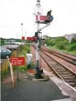 Down signal controlling the siding at Cumbernauld in August 1997 - at that time much busier than the main line.<br><br>[David Panton&nbsp;/08/1997]