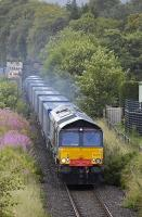 DRS 66419 with Inverness - Grangemouth Intermodal 4D47 leaves Blair Atholl having crossed the Tilt Viaduct on 31 July.<br> <br><br>[Bill Roberton&nbsp;31/07/2009]