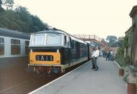 D7029 heads a train on the NYMR at Goathland in 1986.<br><br>[Colin Miller&nbsp;//1986]