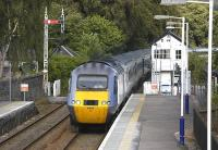 NXEC service from London Kings Cross to Inverness enters Blair Atholl on 30 July 2009.<br> <br><br>[Bill Roberton&nbsp;30/07/2009]