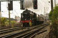 The second steam hauled train to depart from Preston on 5 August 2009 within a 20 minute period was <I>The Fellsman</I> railtour from Lancaster to Carlisle via Blackburn and the Settle & Carlisle line. 46115 <I>Scots Guardsman</I> makes a spirited departure out of platform 3 before crossing onto the Up Slow line so that it can access the East Lancs line at Farington Curve Junction.<br><br>[John McIntyre&nbsp;05/08/2009]