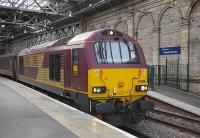 67008 at Waverley with the returned Fife Circle evening commuter train on 5 August 2009.<br> <br><br>[Bill Roberton&nbsp;05/08/2009]