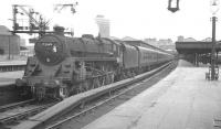 One of the St Rollox batch of Caprotti valve-geared BR Standard class 5s, no 73149, prepares to take a Dundee train away from Glasgow's Buchanan Street terminus in July 1966.<br><br>[K A Gray&nbsp;25/07/1966]