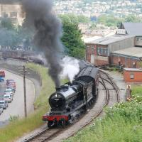 Ex-GCR class 8K (LNER Class O4) 2-8-0 no 63601 leaves Keighley with the 1100 departure for Oxenhope during the KWVR Summer Steam Gala on June 26 2009.<br><br>[Andy Carr&nbsp;26/06/2009]