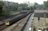 Viewed from Union St bridge, looking north into the Denburn, a pair of Swindon Class 120 DMUs bound for Inverness in August 1973. Aberdeen station is behind the camera to the left.<br><br>[John McIntyre&nbsp;/08/1973]