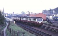 A DMU leaves Bangor for Belfast in May 1970. The signals subsequently found their way to Downpatrick [see image 37451].<br><br>[Colin Miller&nbsp;/05/1970]