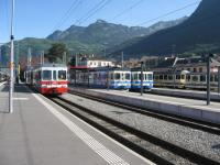 Metre gauge trains of the Transport Publics du Chablais network at Aigle on 17th May 2009.<br><br>[Michael Gibb&nbsp;17/05/2009]