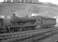 Reid D30 <i>Scott</i> class 4-4-0 no 62423 <I>Dugald Dalgetty</I> stands in the shed yard at Hawick in 1957. The locomotive was withdrawn from here in December of that year and cut up at Inverurie works the following month.<br> <br><br>[Robin Barbour Collection (Courtesy Bruce McCartney)&nbsp;02/11/1957]