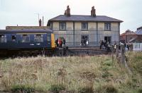 Saturday April 21st 1979 was the last time a passenger train reached the former Great Eastern station at Fakenham before final closure of the line in 1980. This view shows visitors disembarking from the <I>Fakenham Flyer</I> which consisted of two Cravens units.  At the time, the station premises were in use as a bus depot, but today the location is an estate of sheltered housing.  One of the level crossing gates was left in the estate as a memorial.  <br><br>[Mark Dufton&nbsp;21/04/1979]