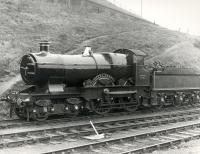 Ex-GWR 3440 <i>City of Truro</i> at Dawsholm MPD during the Scottish Industries Exhibition of September 1959. [An early KB photographic attempt!]<br><br>[Ken Browne&nbsp;/09/1959]