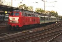 Scene at Remagen in May 1997 with the push-pull train for Altenahr waiting to depart. A solitary diesel in a sea of electrics - and not a multiple unit in evidence anywhere. No doubt all different now.<br><br>[Colin Miller&nbsp;/05/1997]