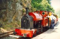 Talyllyn Railway No 4 <i>Edward Thomas</i> stands at Nant Gwernol with a train in July 1992.<br><br>[Ken Browne&nbsp;22/07/1992]