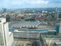 View south east over Waterloo Station in August 2009 from the London Eye. <br><br>[Alistair MacKenzie 23/08/2009]