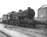 B12 4-6-0 no 61572 stands alongside the works at Stratford in September of 1962 following withdrawal from 32A Norwich Thorpe the previous year. Thanks to a 17 year restoration project the locomotive is now preserved on the North Norfolk Railway at Sheringham.  [See image 34636] <br><br>[David Pesterfield&nbsp;08/09/1962]