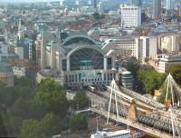 You get an unbeatable view of railway landmarks from The London Eye. View north across the Thames towards Charing Cross station in August 2009.<br><br>[Alistair MacKenzie 23/08/2009]