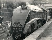 4498 <I>Sir Nigel Gresley</I> at the West end of Waverley station on 22nd June 1974, shortly before taking out the Aberdeen portion of <i>The Tyne Dee Coastal</i> special.<br><br>[Gordon Smith Collection (Courtesy Ken Browne)&nbsp;22/06/1974]